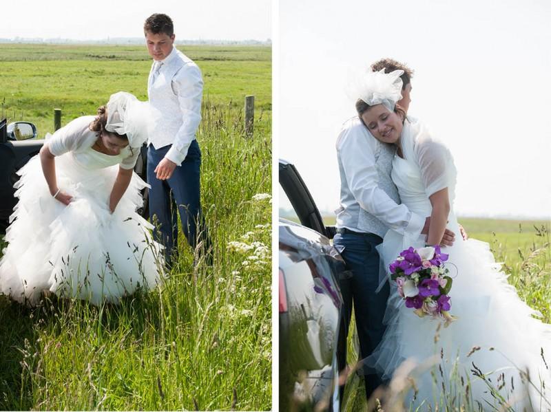 Bruidsfotografie in het weiland