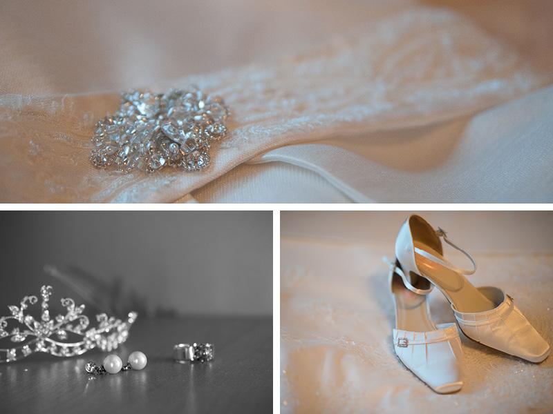 details trouwjurk, bruidsschoenen en sieraden