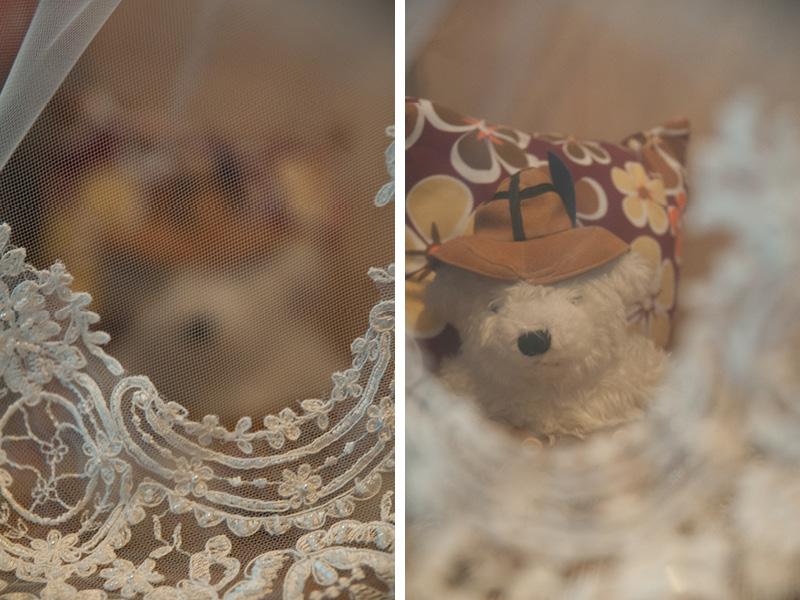 knuffelbeer en bruidssluier