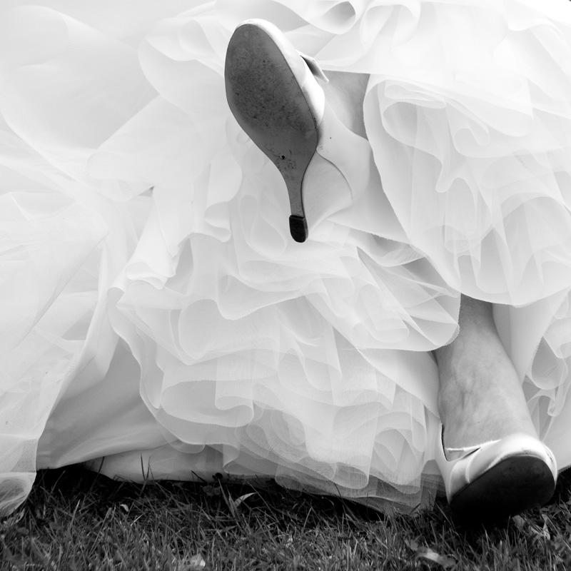 Bruidsjurk met een wolk tule