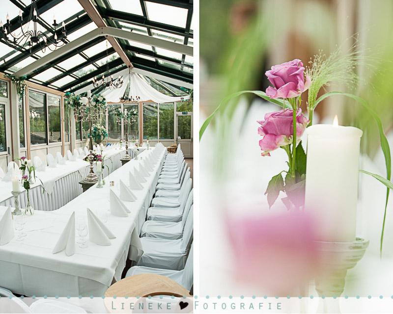 Bruidsfotografie diner zaal aankleding bij Natuurlijk Kloof Bergen op Zoom